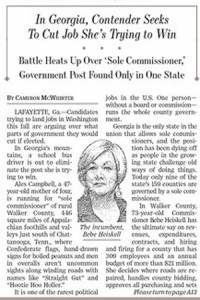 Sole Commissioner in WSJ