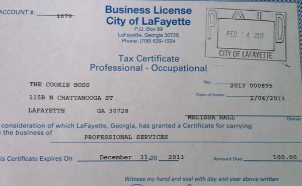 Cookie Boss Business License