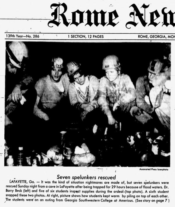 Walker Cave Rescue / Rome News Tribune March 5 1979