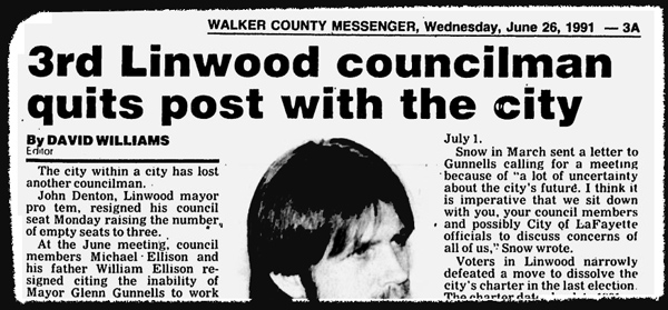Mayor Gunnells Linwood Council Resignation June 1991