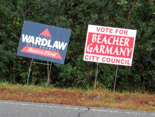Garmany and Wardlaw Election Signs
