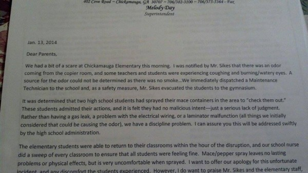 Chickamauga Elementary Mace Letter