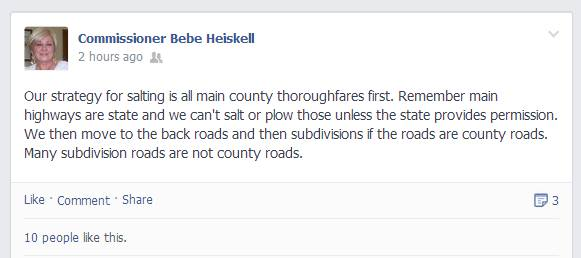 Commissioner Heiskell Facebook Post