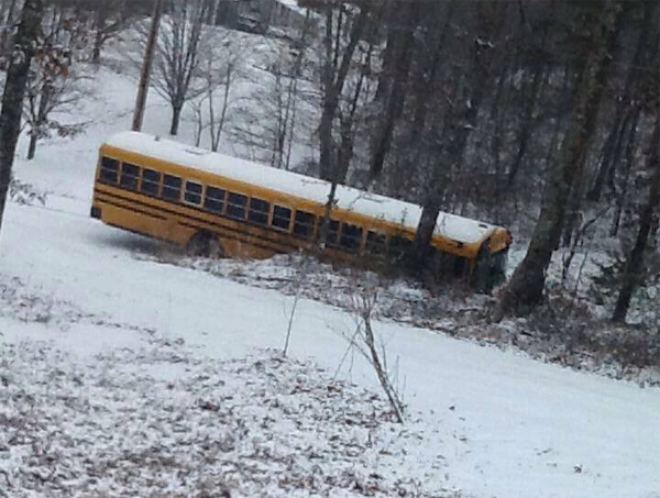 School Bus Stuck on Corinth Rd