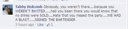 Tammy Holcomb Free Drinks at Tavern