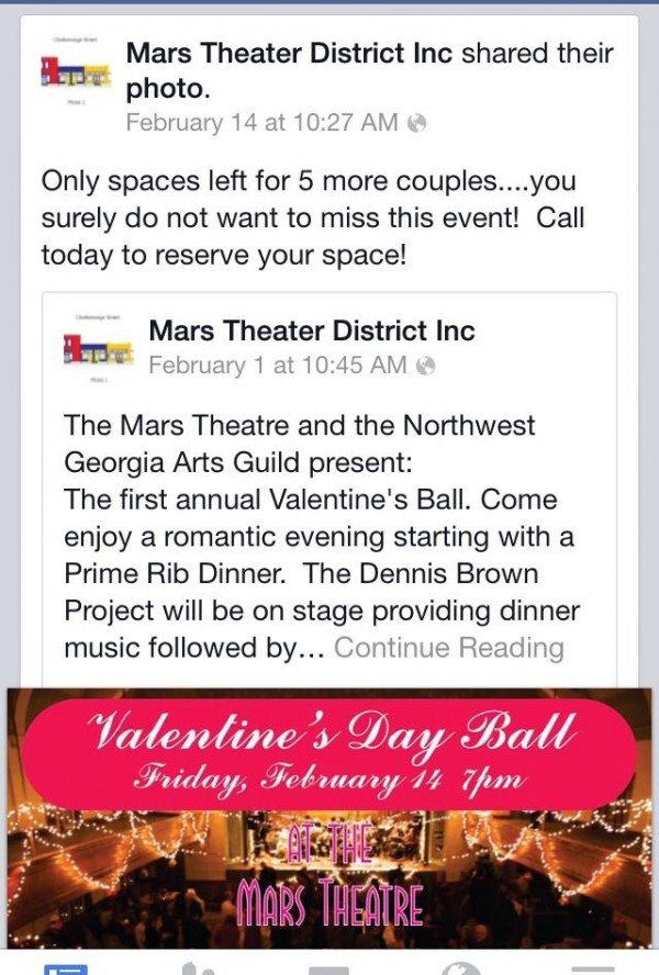 Mars Theater / Tavern 2nd Valentine's Day Party Advertisement
