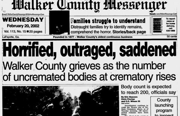 Crematory Headline / Walker Co Messenger Feb 20 2002