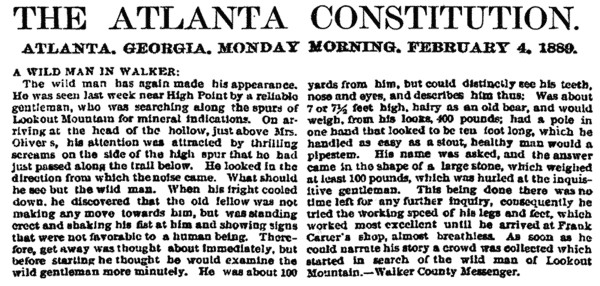 February 4 1889 Atlanta Constitution / Bigfoot in Walker County