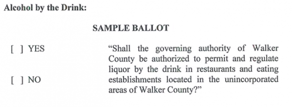 Liquor Law Change for May Ballot