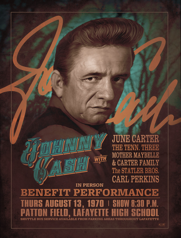 Fictionalized Modern Johnny Cash Concert Poster
