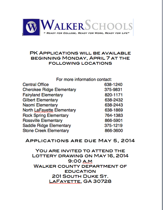 Walker Co Schools Pre-K Applications