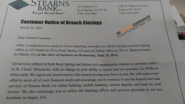 Stearns Bank Closing Letter