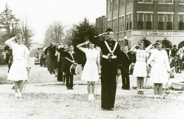 Early 1950's LHS Band on Downtown Square