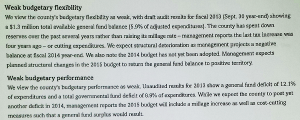 County Bond Downgrade - Spending Reserved & Defecits