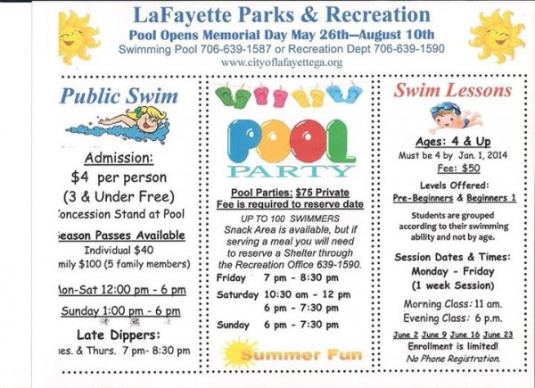 2014 LaFayette Pool Schedule