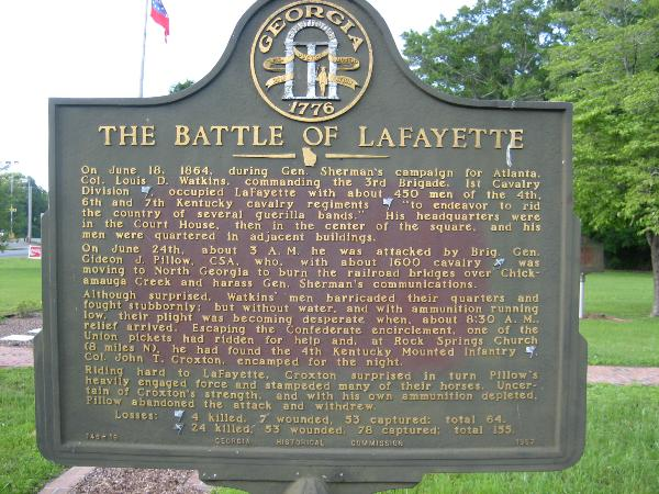 Battle of LaFayette Historical Marker