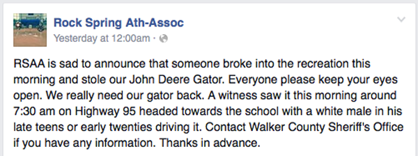 Rock Spring Athletic Association Gator Theft