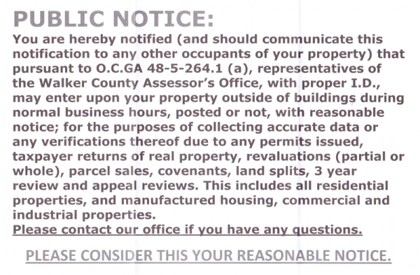 County Tax Assessor Inspection Notice
