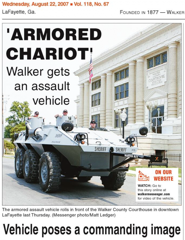 WCM Aug 22 2007 Sheriff's Office Armored Tank