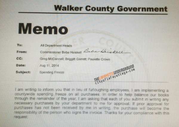 Walker County No Spending Memo