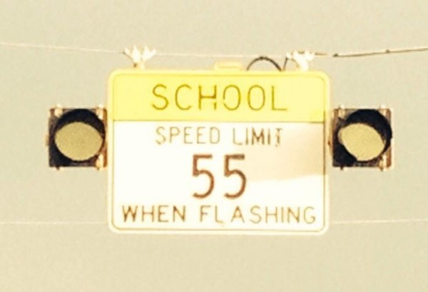 Saddle Ridge 55 MPH School Zone Sign