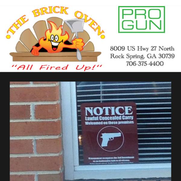 Bob's Brick Oven / Concealed Carry Recognition