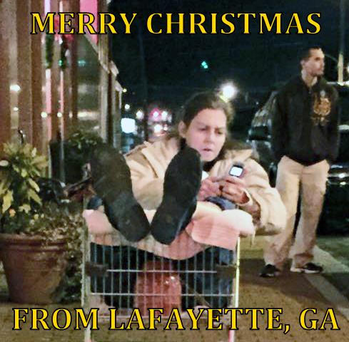 2014 Christmas Parade Shopping Cart Lady Christmas Greetings