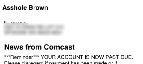 Comcast Bill to Asshole Brown