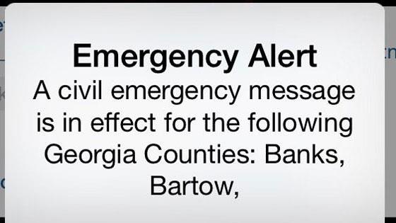 Civil Emergency False Alarm Text