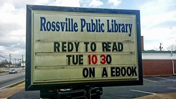 Rossville Library Sign Misspelling
