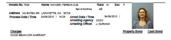 Teresa Swiger Arrest / 04-06-15