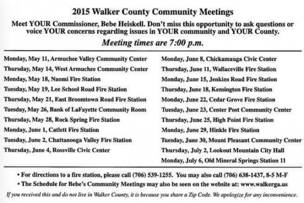 2015 Public Commissioner Meeting Schedule