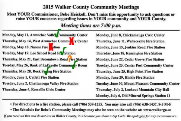 Commissioner Meeting Schedule / Updated May 29