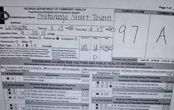 Chattanooga Street Tavern / 97 Health Score