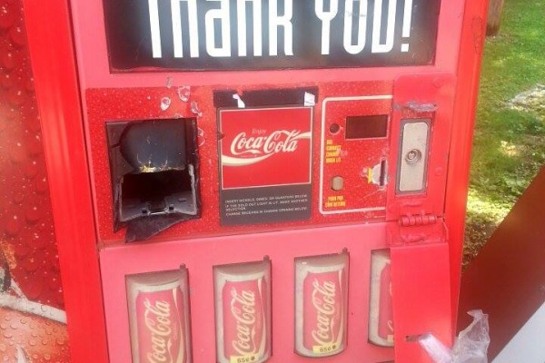 Busted Coke Machine at Alpine