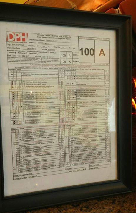 Health Score / Bobs Brick Oven 100