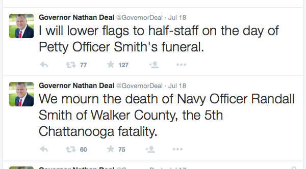 Nathan Deal Tweet / Randall Smith Death