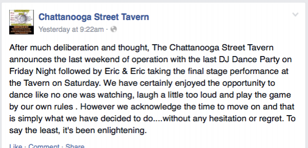 Chattanooga Street Tavern Closing / Facebook
