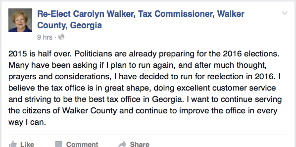 Carolyn Walker 2016 Campaign Announcement
