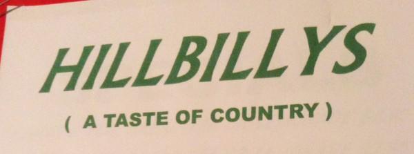 Hillbilly's Menu Top