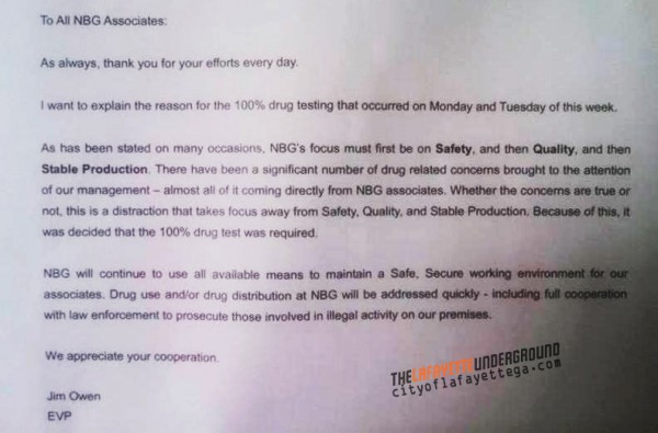 Nissin Drug Test Memo