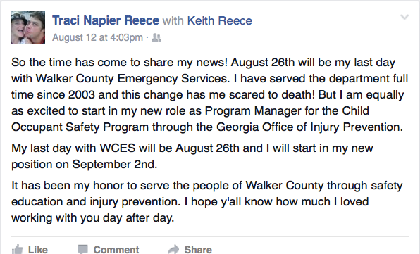 Traci Reece Leaving Walker Co Emergency Services