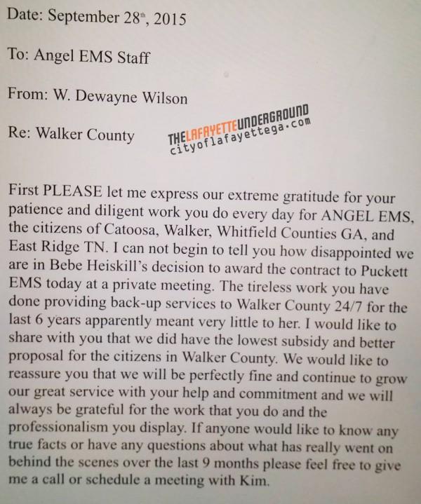 Memo: DeWayne Wilson on Puckett Ambulance
