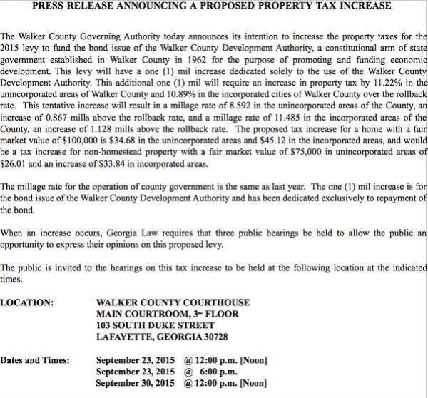 Walker County Tax Meeting Notice