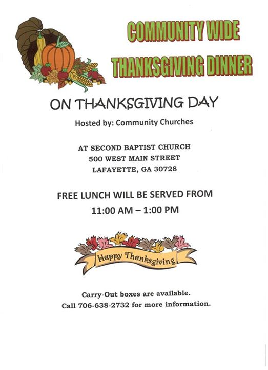 Second Baptist Free Thanksgiving Meal