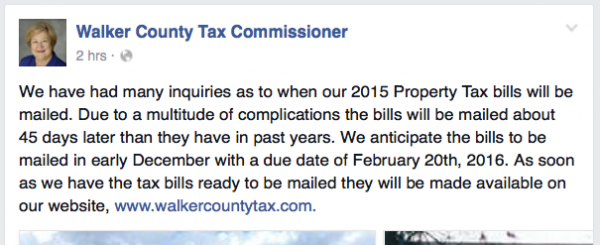 Walker Tax Commissioner Facebook / Tax Bills Will Be Late