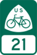USBR 21 / Bicycle Route Road Sign