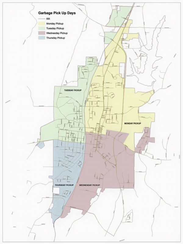 LaFayette Garbage Pickup Map, February 2016