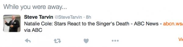 Steve Tarvin Twitter / Natalie Cole Death