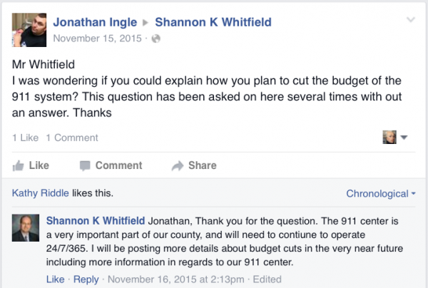 Shannon Whitfield Facebook 911 Question Unanswered